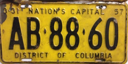Washington DC license plate from 1957
