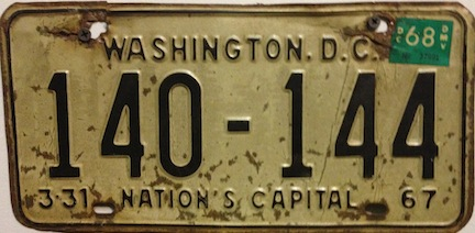 Washington DC license plate from 1968