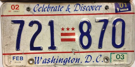 Washington DC license plate from 2001