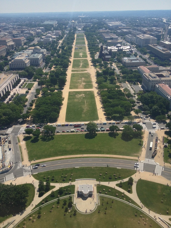 View from top of Washington Monument facing the Capitol building