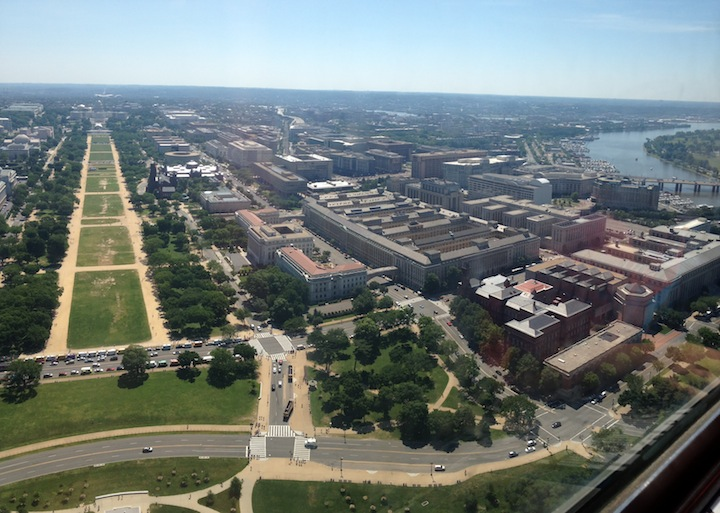View from top of Washington Monument facing The Capitol, the National Mall and the Potomac River