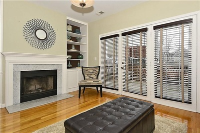 Living room with fireplace: 610 Elliott St NE Washington DC.  Capitol Hill.